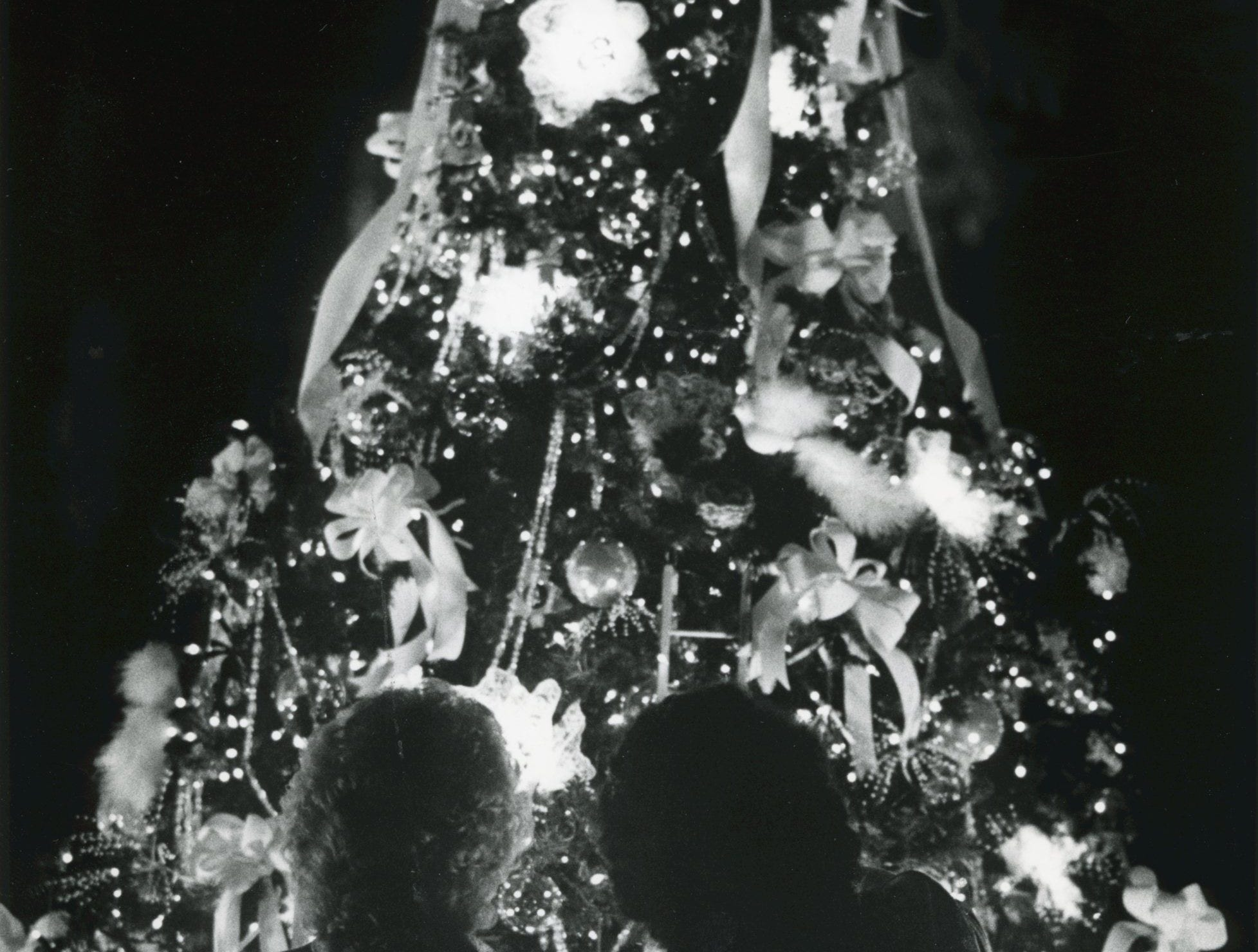 Trula Berry and Anita Hall admire one of the many ornamented and lighted trees at the annual Fantasy of Trees, November 1988.