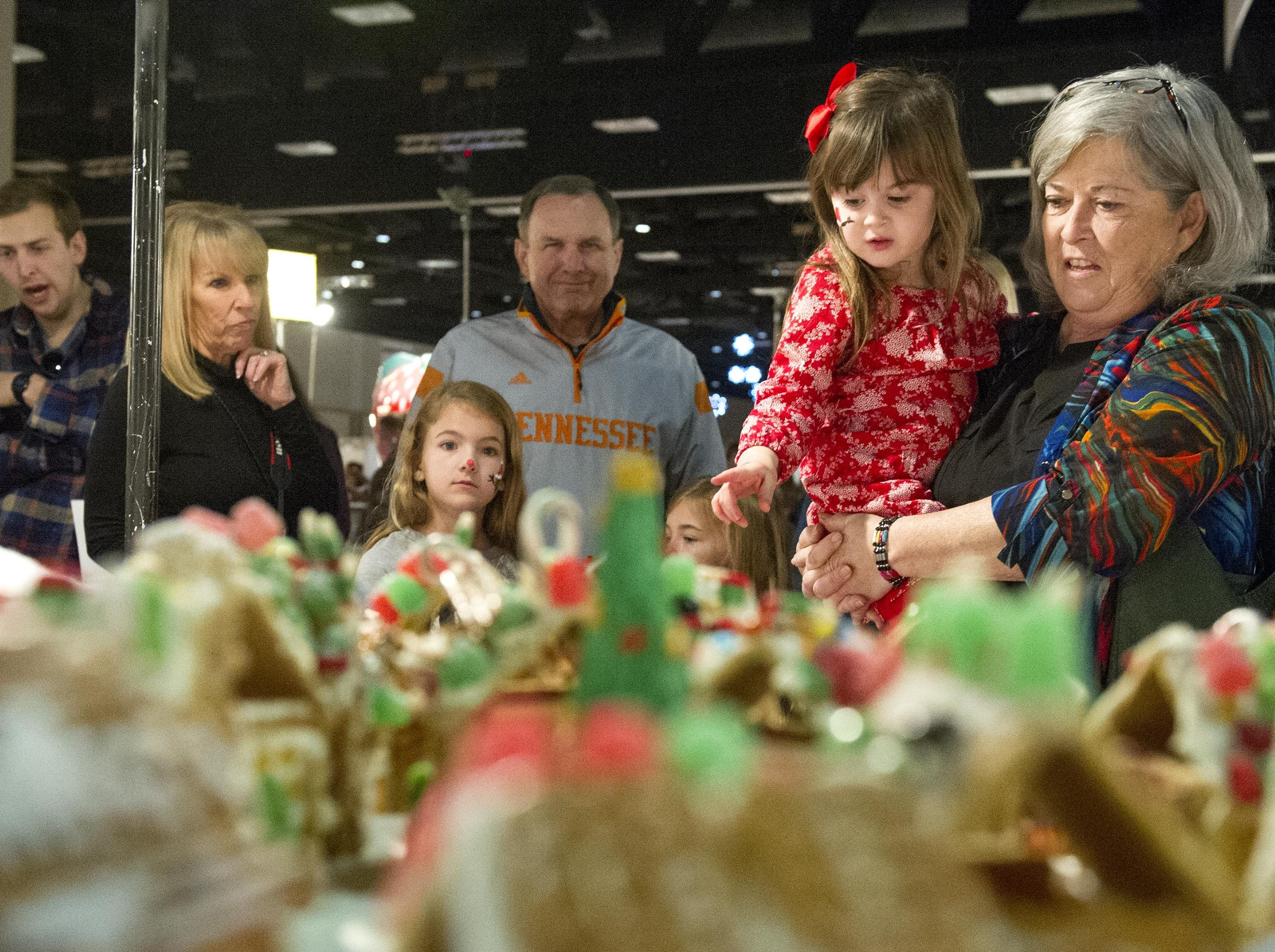 Eirelyn Friel, 3, and Judy Sansak both of Lansing look at the large variety of gingerbread houses during the Fantasy of Trees at the Knoxville Convention Center Wednesday, Nov. 25, 2015. (JESSICA TEZAK/NEWS SENTINEL)