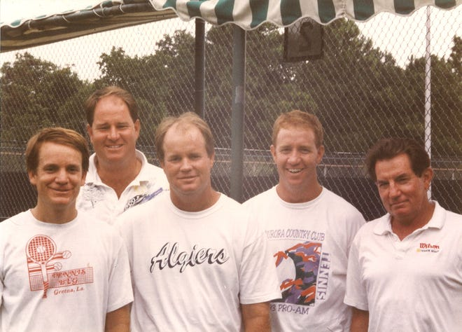 Coach John Bryan, right, is shown with his sons (l-r) Boyd, Vaughn, Bill and Mike. John Bryan will enter the Louisiana Tennis Hall of Fame on Nov. 30 with ceremonies at City Club in River Ranch.