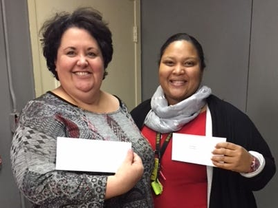 Ann Sylvester and Chasity Malveaux, teachers at Sunset Elementary, each received gift cards as a part of The Daily Advertiser's Adopt-A-Teacher drive.  Energy Transfer provided a $25,000 donation and Community Foundation of Acadiana assisted in securing gift cards for more than 400 teachers at 134 schools.