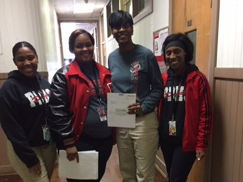 Teachers at Port Barre High School received gift cards as a part of The Daily Advertiser's Adopt-A-Teacher drive.  Energy Transfer provided a $25,000 donation and Community Foundation of Acadiana assisted in securing gift cards for more than 400 teachers at 134 schools.