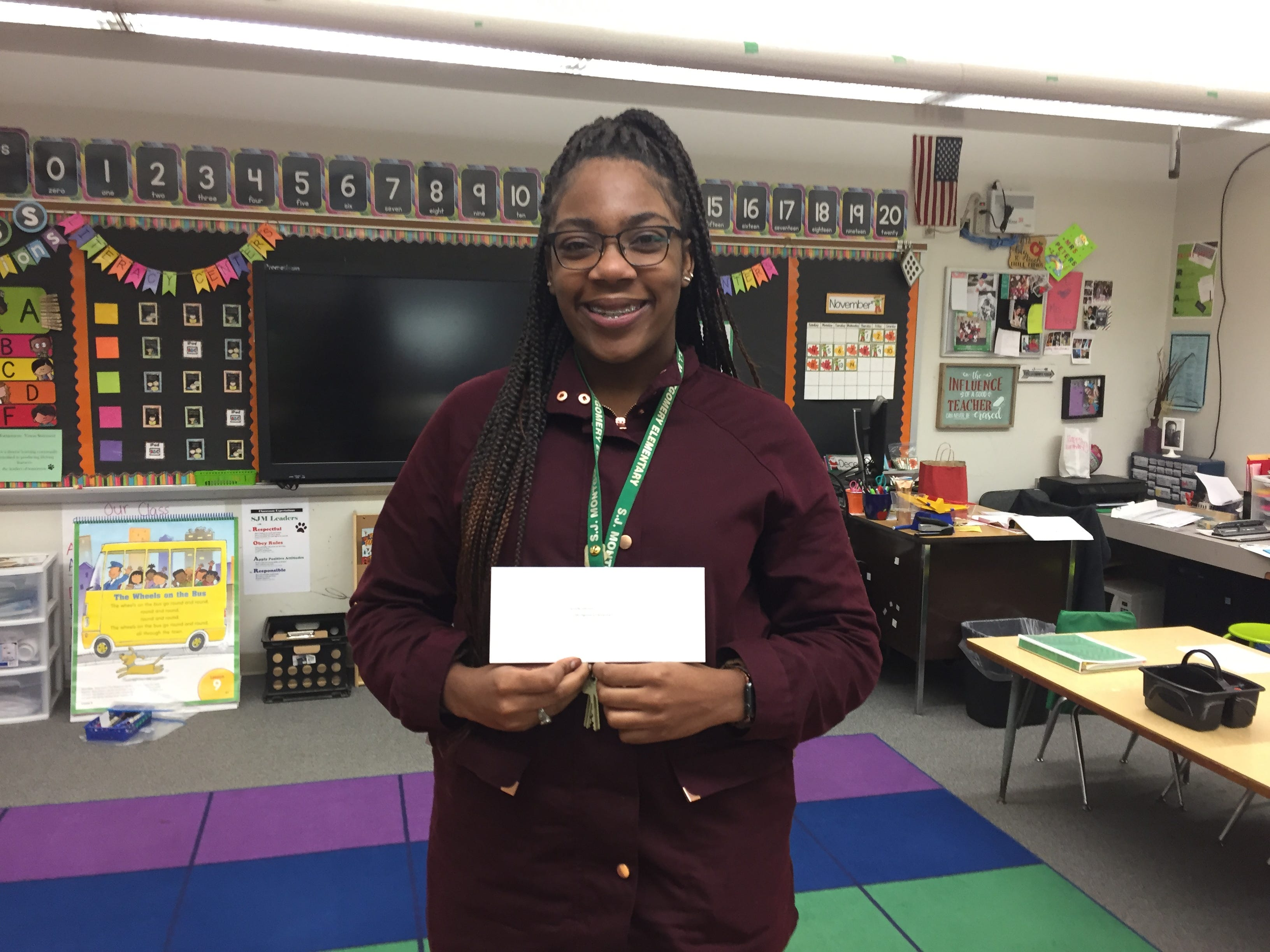 SJ Montgomery Elementary School teacher Danielle Johnson received a gift card as a part of The Daily Advertiser's Adopt-A-Teacher drive.  Energy Transfer provided a $25,000 donation and Community Foundation of Acadiana assisted in securing gift cards for more than 400 teachers at 134 schools.