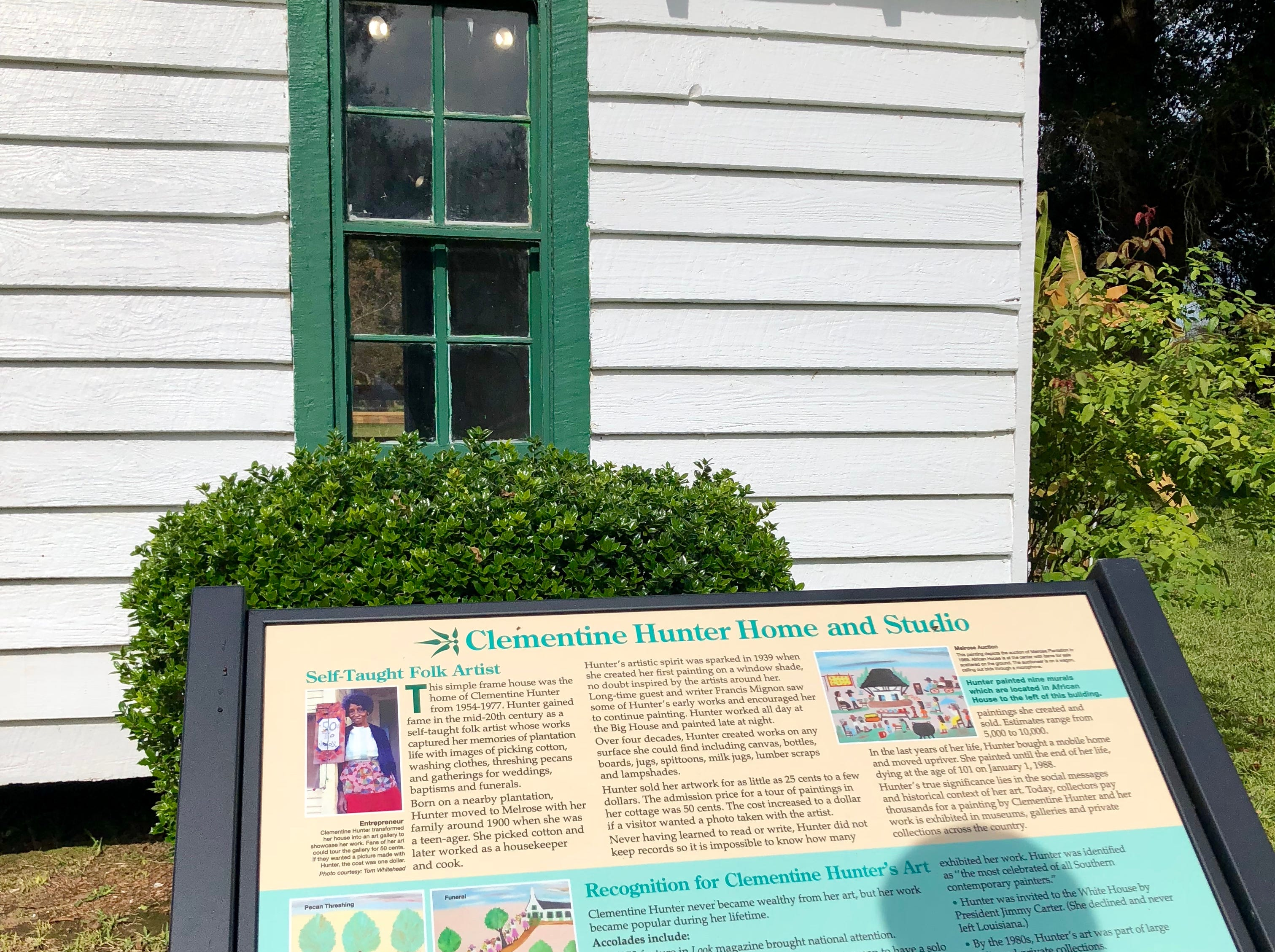 Famous Louisiana folk artist Clementine Hunter's home is on the grounds of Melrose Plantation, as is some of her artwork.