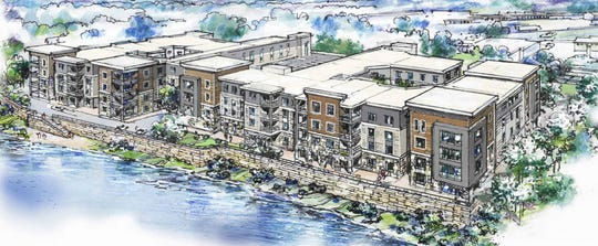 A rendering shows what a 199-unit apartment complex that will be built on Mill Pond in downtown Brighton by DTN Development Group, Inc. will look like.