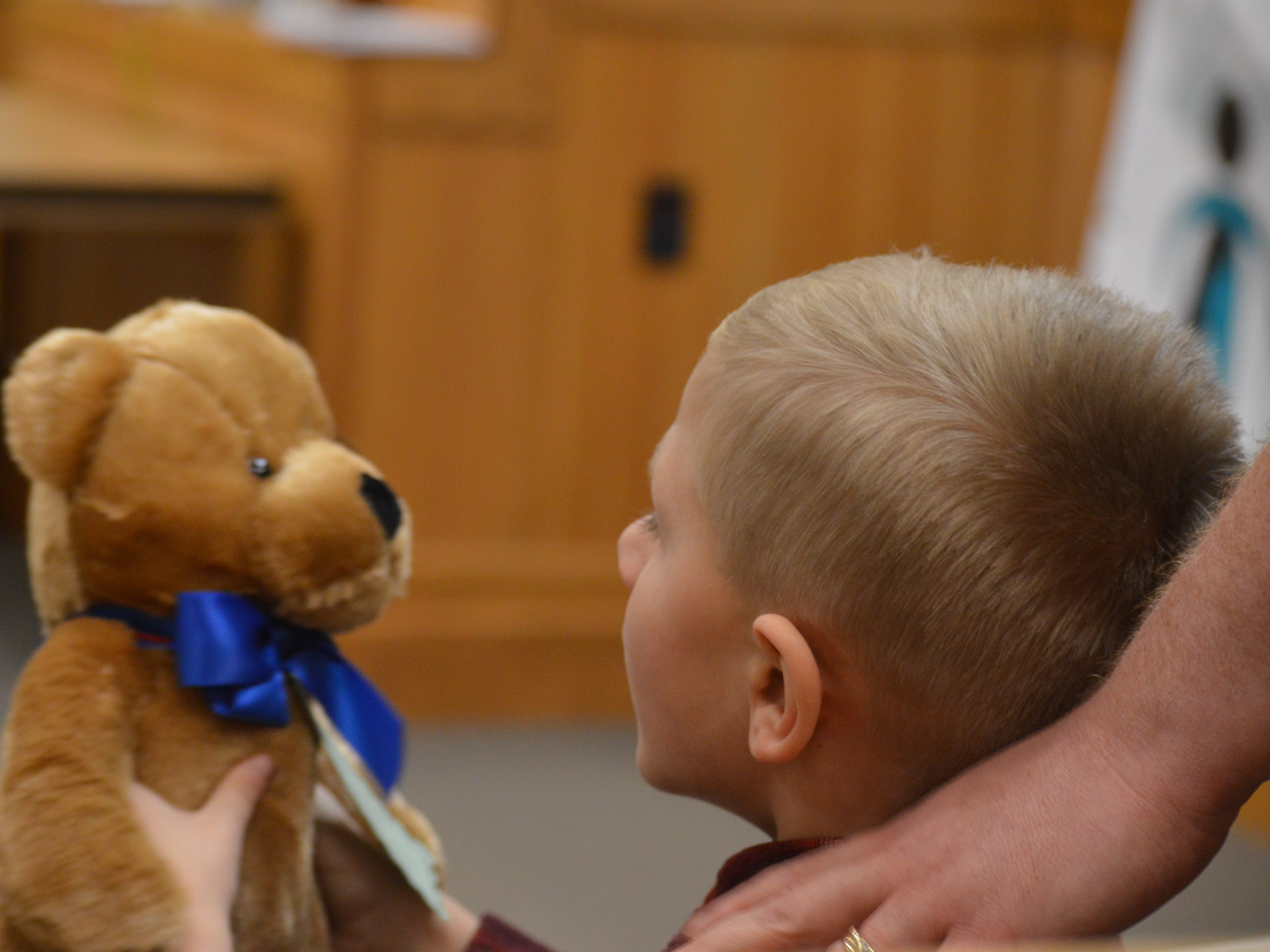 Jayden Poag looks at the teddy bear given to him by Livingston County Chief Judge Miriam Cavanaugh after his adoption was finalized Nov. 20, 2018.