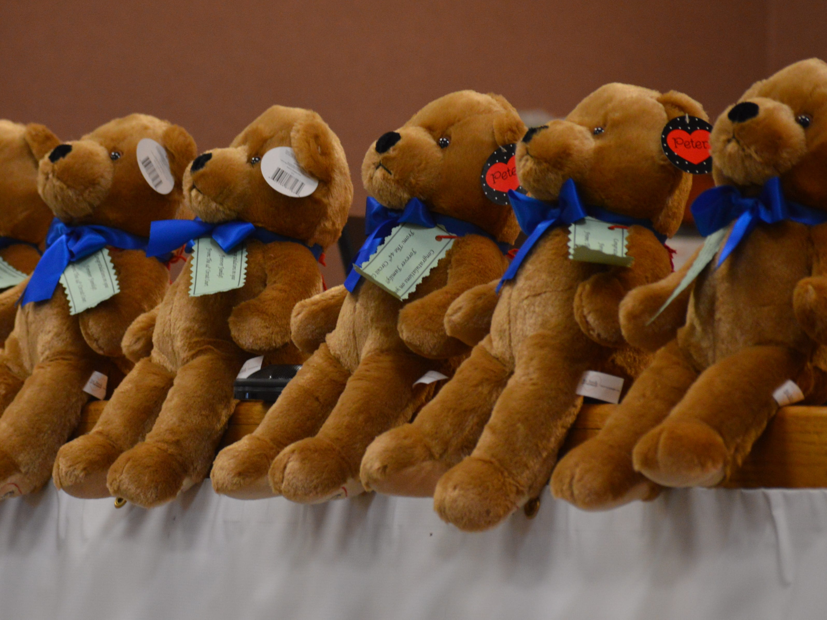 Stuffed bears lined the desk of Livingston County Chief Judge Miriam Cavanaugh on Tuesday Nov. 20, 2018.
