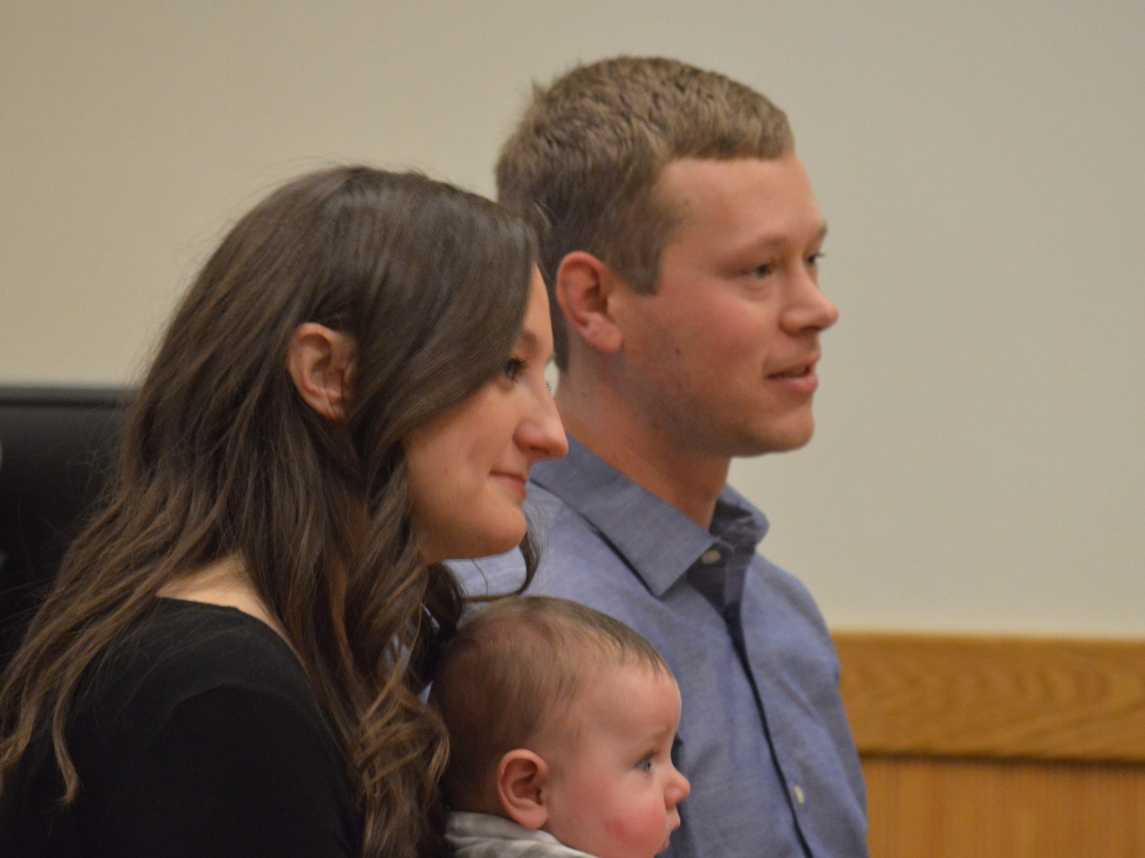 Chad and Christine Church tell Livingston County Chief Judge Miriam Cavanaugh what it means to legally adopt their 5-month-old son Wyatt. His adoption was finalized Nov. 20, 2018.