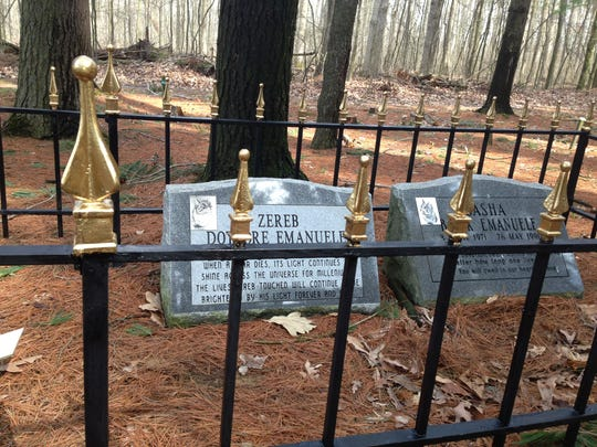 Zereb and Sasha, two of Milan Emanuele's cats, are buried at Heavenly Acres pet cemetery in Genoa Township, Mich. The cemetery's future is uncertain after a lease expired.