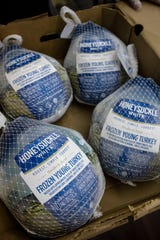 Some of the 100 turkeys that Galan's Meat Market will be giving away for Thanksgiving.