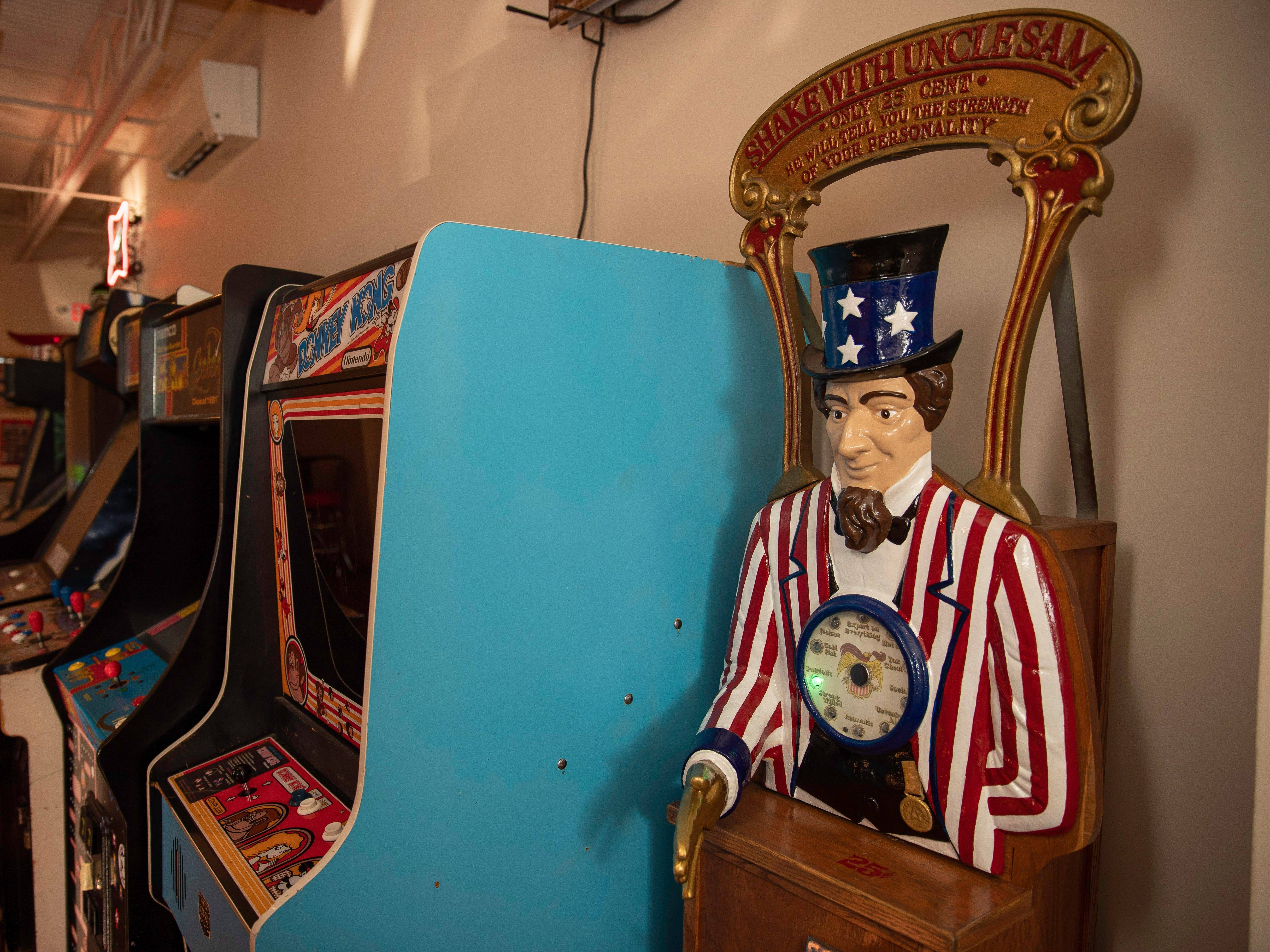 Shake with Uncle Sam personality tester, a unique find in the game room of Butchertown Pizza Hall, Wednesday, Nov. 7, 2018 in Louisville Ky.