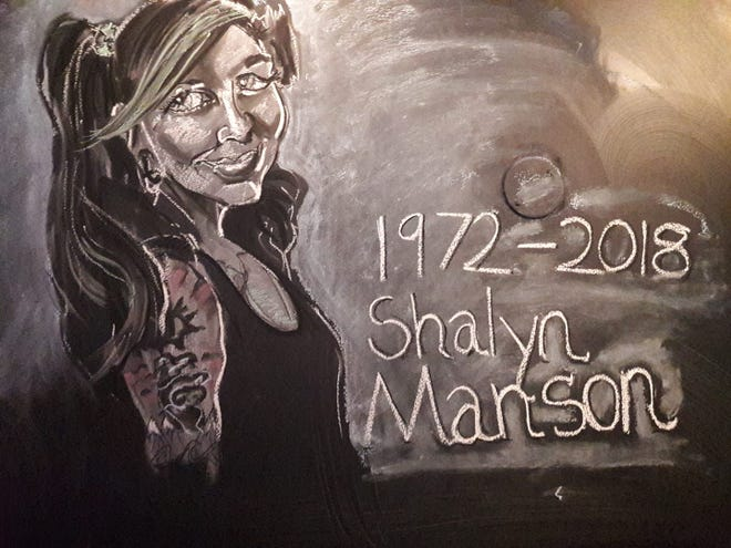 Ryan Holmes, of Lansing, recently created this chalk art drawing as a tribute to Shalyn Manson, his friend. Police found Manson's body on Nov. 16 in the Grand River. They do not suspect foul play.