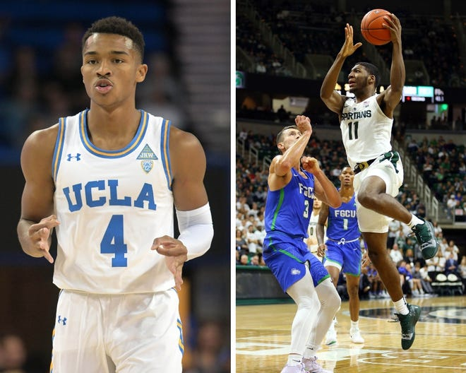 From left: UCLA's Jaylen Hands and Michigan State's Aaron Henry.