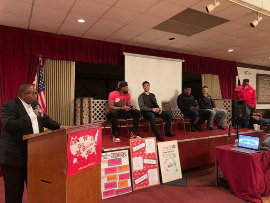 Stan Jefferson, and former Ohio State football players Jay Richardson, Ben Buchanan, Joshua Perry, Drew Basil, Dee Miller and Obie Stillwell were the featured speakers for the 38th Buckeye Bash on Monday, Nov. 19.
