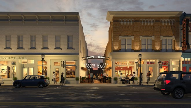 A rendering of what South Main Street would look like in Marion, according to the plan from Main Street Reimagined.