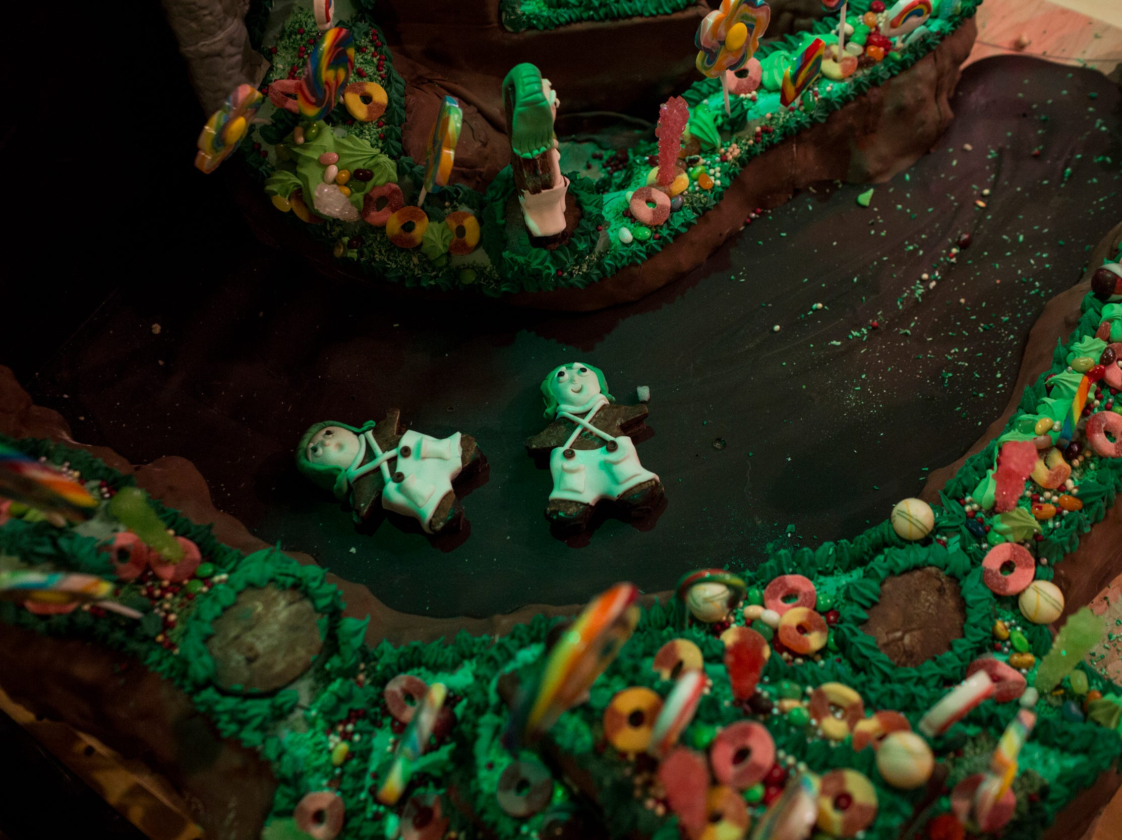 November 20 2018 - Details from the holiday gingerbread display at the Peabody Hotel. Chef Konrad Spitzbart does an elaborate holiday Gingerbread display every year that work is started on months in advance.