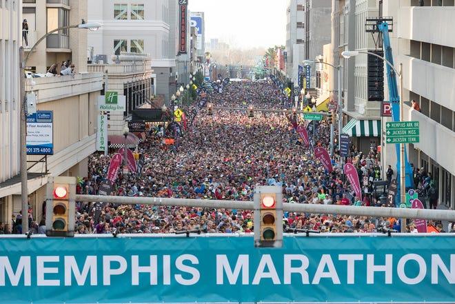 Runners participate in the annual Memphis St. Jude Memphis Marathon on Saturday, December 2, 2017.