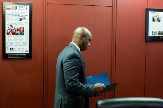 November 20 2018 - Shelby County Schools Superintendent Dorsey Hopson arrives at a press conference to announce his resignation from the Shelby County Schools district. Hopson's resignation is effective Jan. 8.