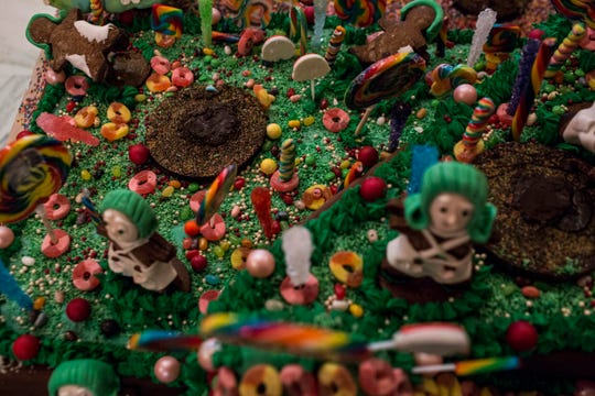 November 20 2018 - Details from the holiday gingerbread display at the Peabody Hotel. Executive pastry chef Konrad Spitzbart does an elaborate holiday Gingerbread display every year that work is started on months in advance.