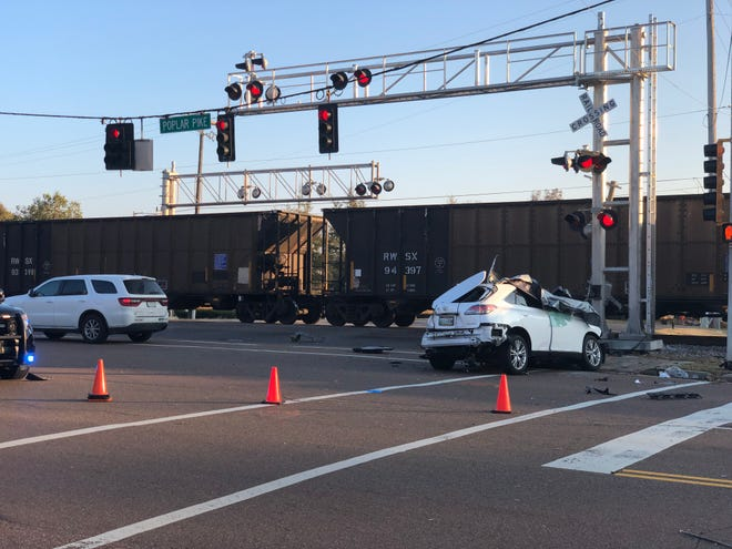 A car and train collided near Poplar Pike and Forest Hill-Irene in Germantown on Tuesday, Nov. 11, 2018. Both individuals in the car died as a result of the crash.
