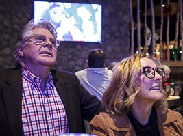 Friends and family sitting at the bar watching the screen while they wait for Reagan's Strange performance at NBC's Voice at Kooky Canuck in Cordova.