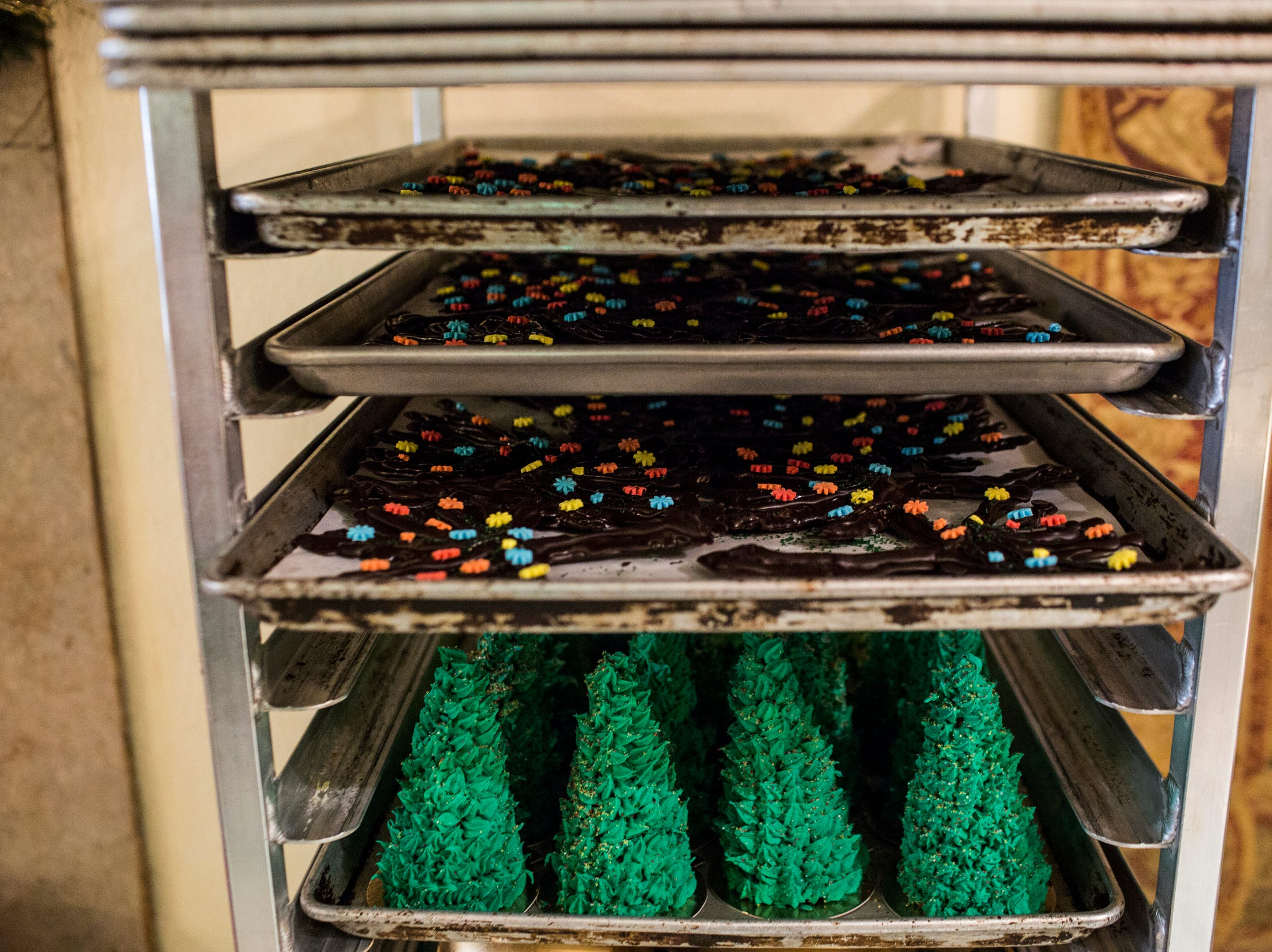 November 20 2018 - Trays of decorations are seen before they're added to the holiday gingerbread display at the Peabody Hotel. Chef Konrad Spitzbart does an elaborate holiday Gingerbread display every year that work is started on months in advance.