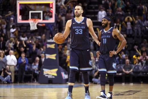 Memphis Grizzlies guard Mike Conley and center Marc Gasol run out the clock on their 112-104 win over the Sacramento Kings at the FedExForum on Friday, Nov. 16, 2018.
