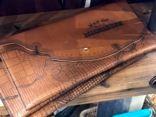 Milwaukee Map Clutch on the shelf at The Waxwing