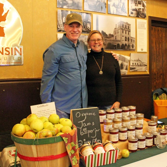 Ed and Peggy Callahan sell jams from their Dream Apple Farm in Port Washington. Peggy makes the jams in the commercial kitchen they created when they built their pole barn last year.
