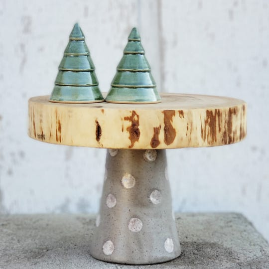 Ceramic and wood cake stand by Jennifer Darner Wolfe and Ben Hansen Woods.