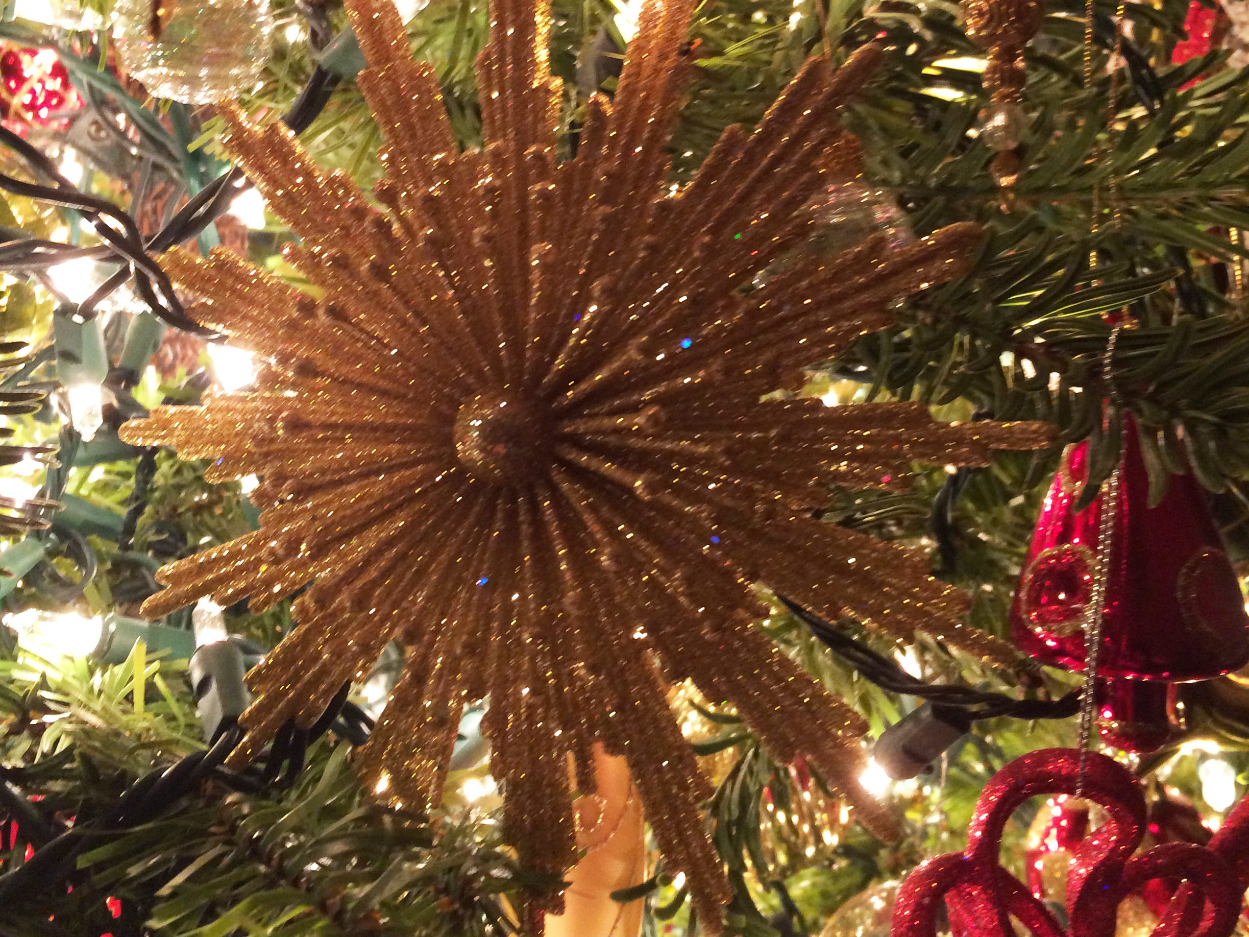 White lights show off the shimmering red and gold ornaments on Dawn Frahm's tree.