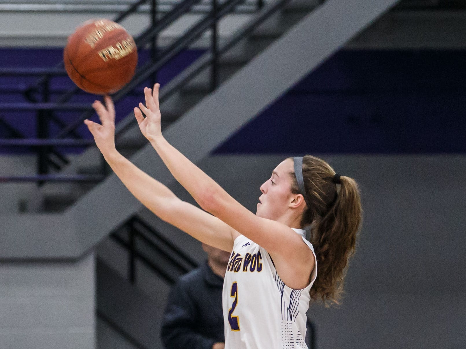 Oconomowoc sophomore Elizabeth Cleary (2) elevates for three during the game at home against Franklin on Monday, Nov. 19, 2018.
