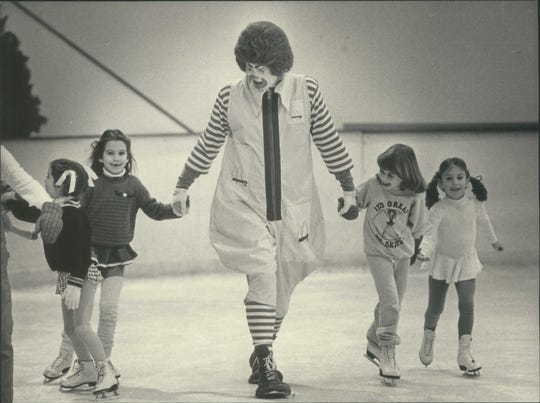 In a photo from 1984, Ronald McDonald skated with children during the Mayfair Lions Club's third annual Ice Skate-A-Thon at the Mayfair Mall Ice Chalet in Wauwatosa. The Lions' benefit was for the Ronald McDonald House and other charities in southeastern Wisconsin.