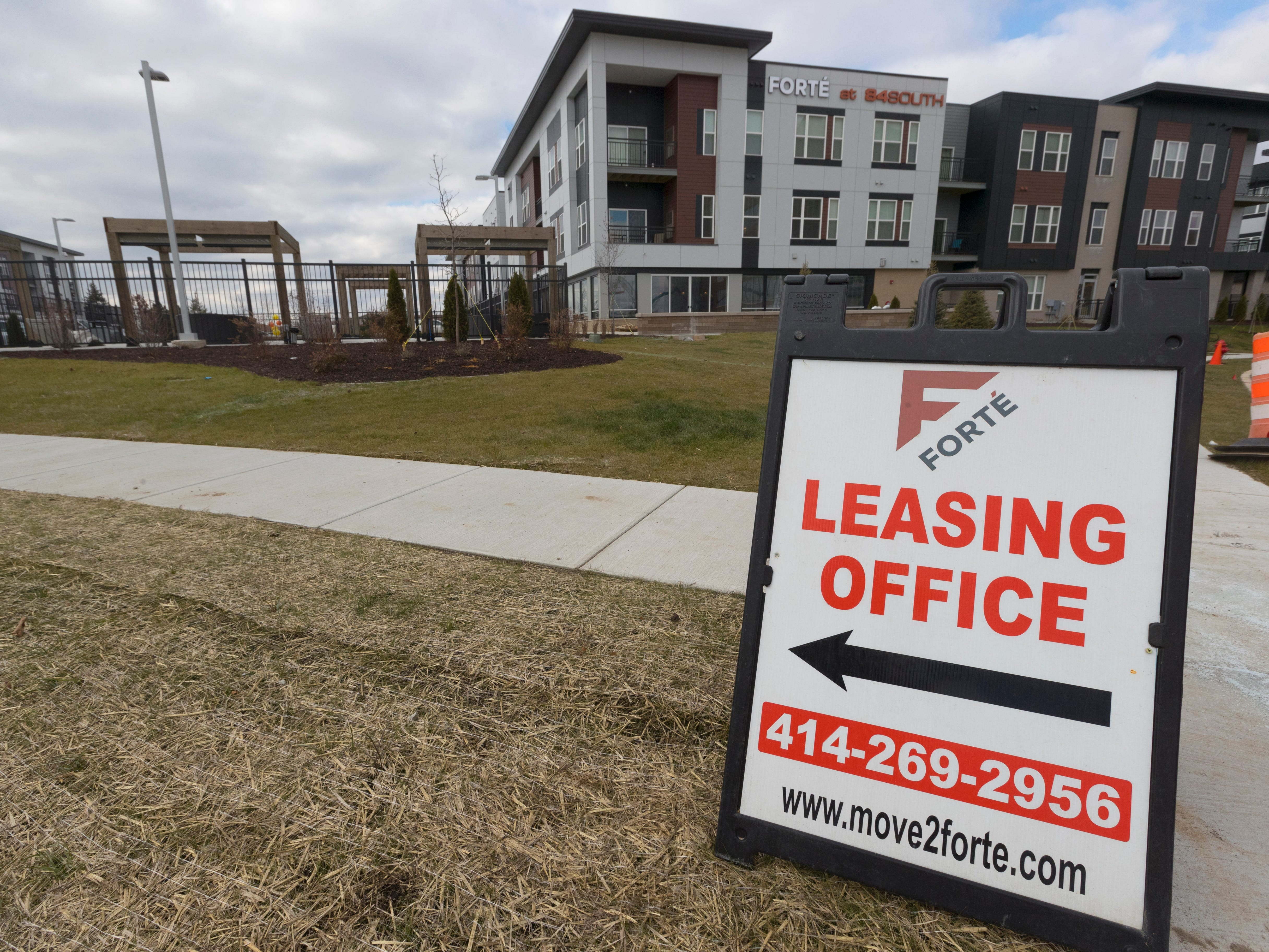 A sign guides prospective tenants to a leasing office at the  48-acre mixed development 84 South.