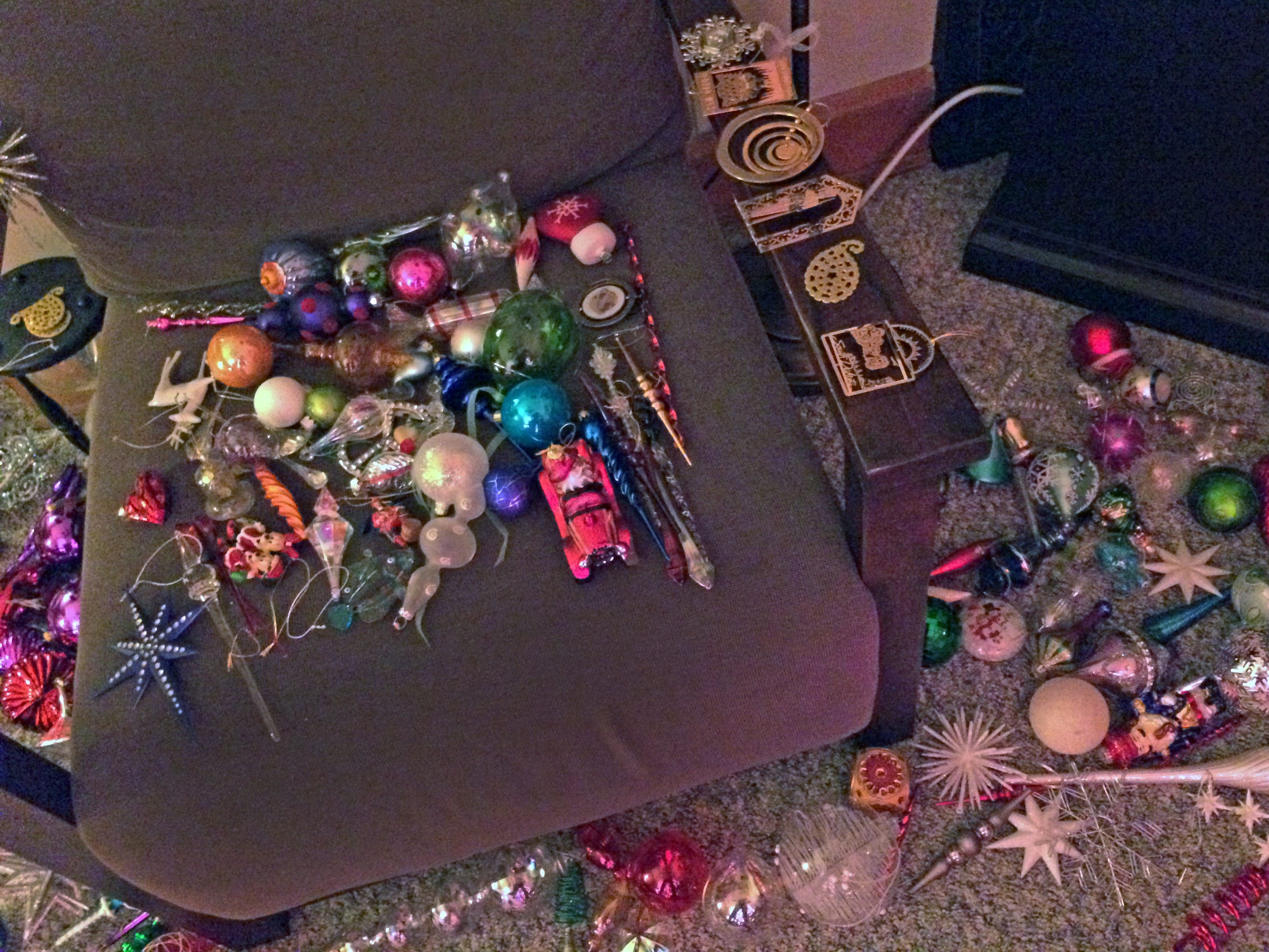 Once the lights are on Kim Harrison's tree, her 1,000 or so ornaments are spread out around the room. She estimates that it takes her more than 20 hours to hang all of the ornaments.
