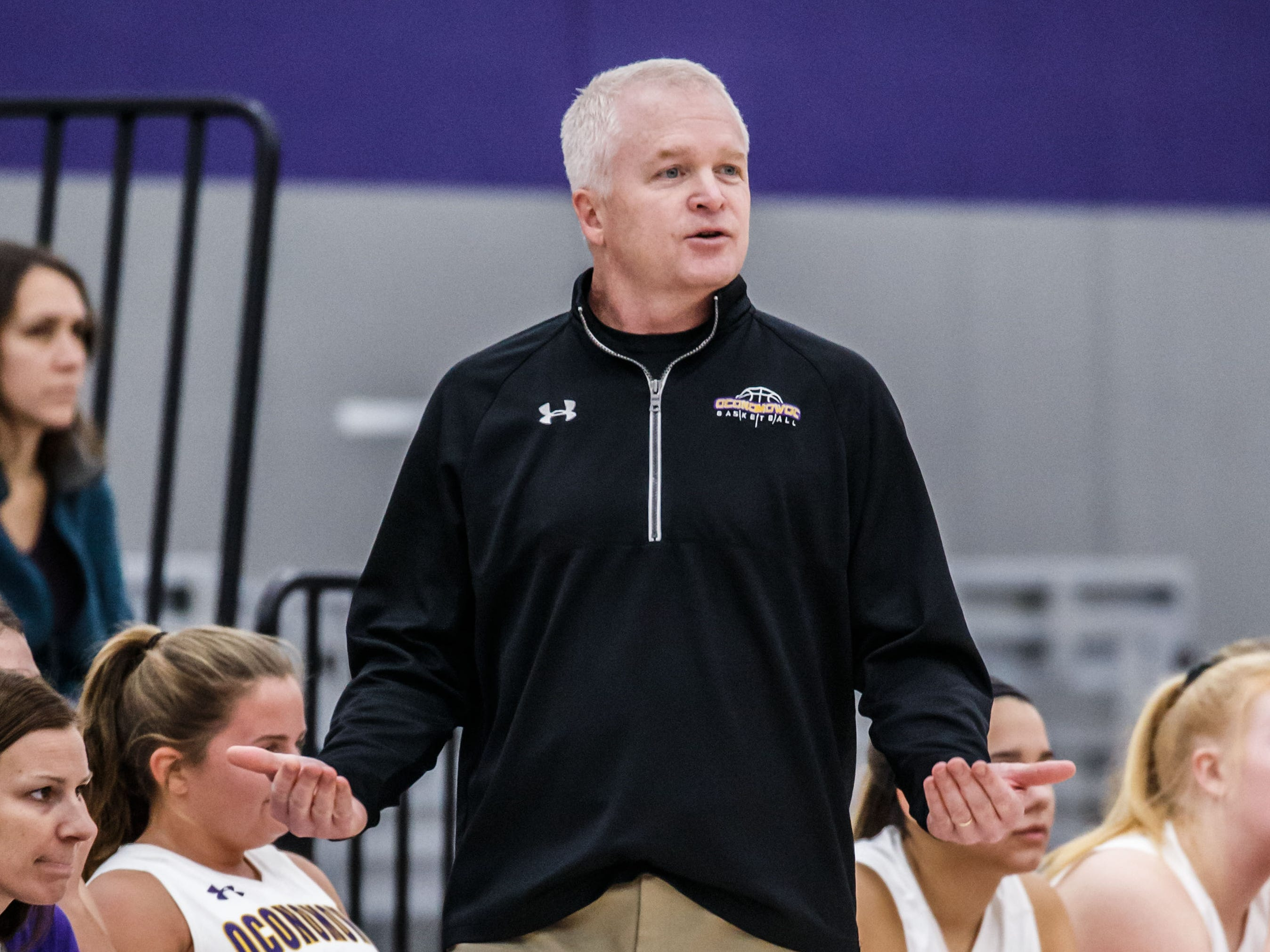 Oconomowoc head coach Bob Shea reacts to a call during the game at home against Franklin on Monday, Nov. 19, 2018.