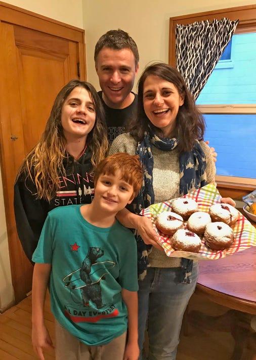 hanukkah28-Keren Weisshaus Her Husband Oori Daughter Stav Son Erez