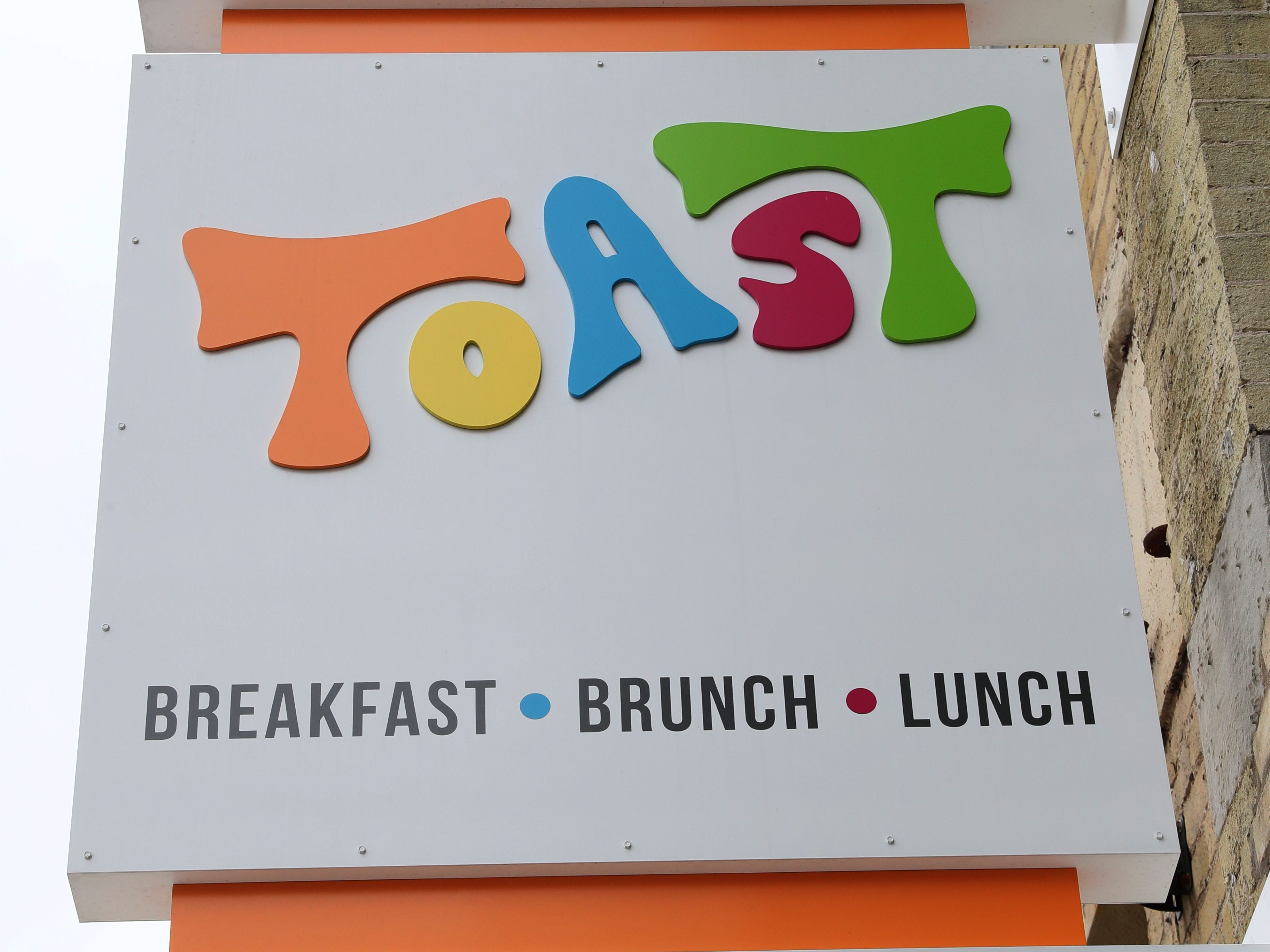 The font and the colors on Toast's sign give away its 1970s theme.