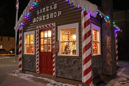 Kids can visit with Santa and Mrs. Claus in their gingerbread workshop along Washington Ave. in Cedarburg.