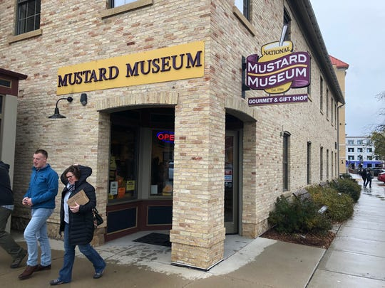 Visitors leave the National Mustard Museum in downtown Middleton.