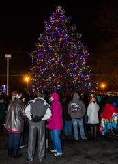 Spectators gather to watch a past Okauchee Tree Lighting event.