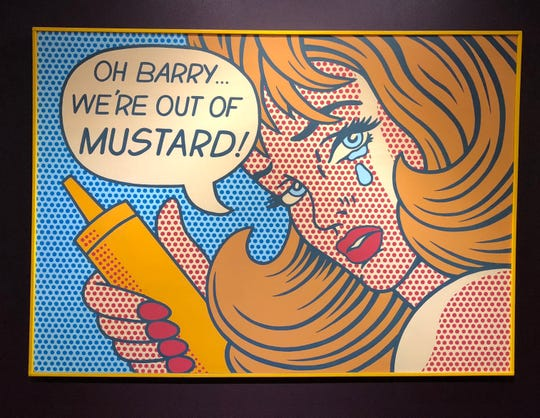 A pop-art mustard poster at the National Mustard Museum in Middleton.