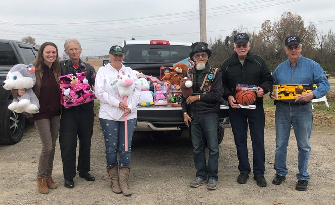 The ABATE District 16 Toy Run provided $480 and four dozen toys for Christmas Wish. Pictured are: (from left) Stormi Day, Christmas Wish Coordinator; Gary Grimm, ABATE District 16 Vice President; Laura Frasco,ABATE District 16 Secretary;Ray Couhran,ABATE District 16honorary member;Jay Lanning,ABATE District 16Sergeant at Arms; andSteve Rogers,ABATE District 16Treasurer.