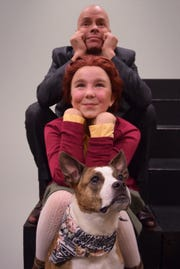 """Annie (played by Gracie Nagle of Allamuchy, center) and Sandy find a home with Daddy Warbucks (Osborn Focht, top) in """"Annie.""""  The musical adapted from the """"Little Orphan Annie"""" comic strip opens on November 23 at Centenary Stage Co. in Hackettstown."""