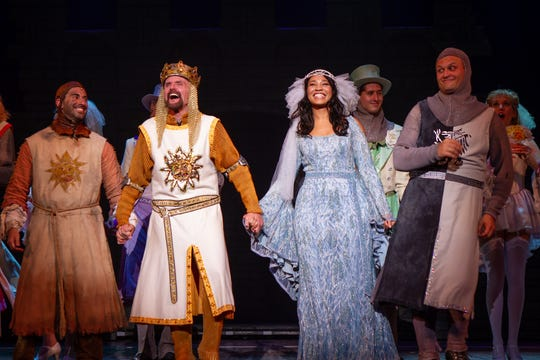 "King Arthur (played by Steve McCoy, with crown) and the Lady of the Lake (Leslie Jackson) lead the cast of the current national tour of ""Monty Pythony's Spamalot."" The irreverent musical look at the Arthurian legend will visit the Mayo PAC for two performances on Sunday, December 2."