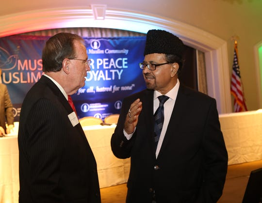 Sheriff Edward Rochford speaks with Naseem Mahdi, National Vice President of the Ahmadiyya Muslim Community. The Ahmadiyya Muslim Community of North Jersey hold an event entitled, ÒMuslims for Peace and LoyaltyÓ. The goal is to counteract the negative influences from abroad Ñ which not only serve to paint domestic Muslims in a bad light but also affect young Muslims susceptible to radicalization. The event took place at the VIlla at Mountain Lakes, NJ. Thurs., Sept. 10, 2015.