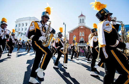 The Alabama State University Marching Hornets in the Turkey Day Classic Parade in downtown Montgomery, Ala. on Thursday November 23, 2017.