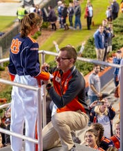 Ryan English, a former member of the AUMB, proposed to his girlfriend, Gaston Gary, at the conclusion of the last home game.