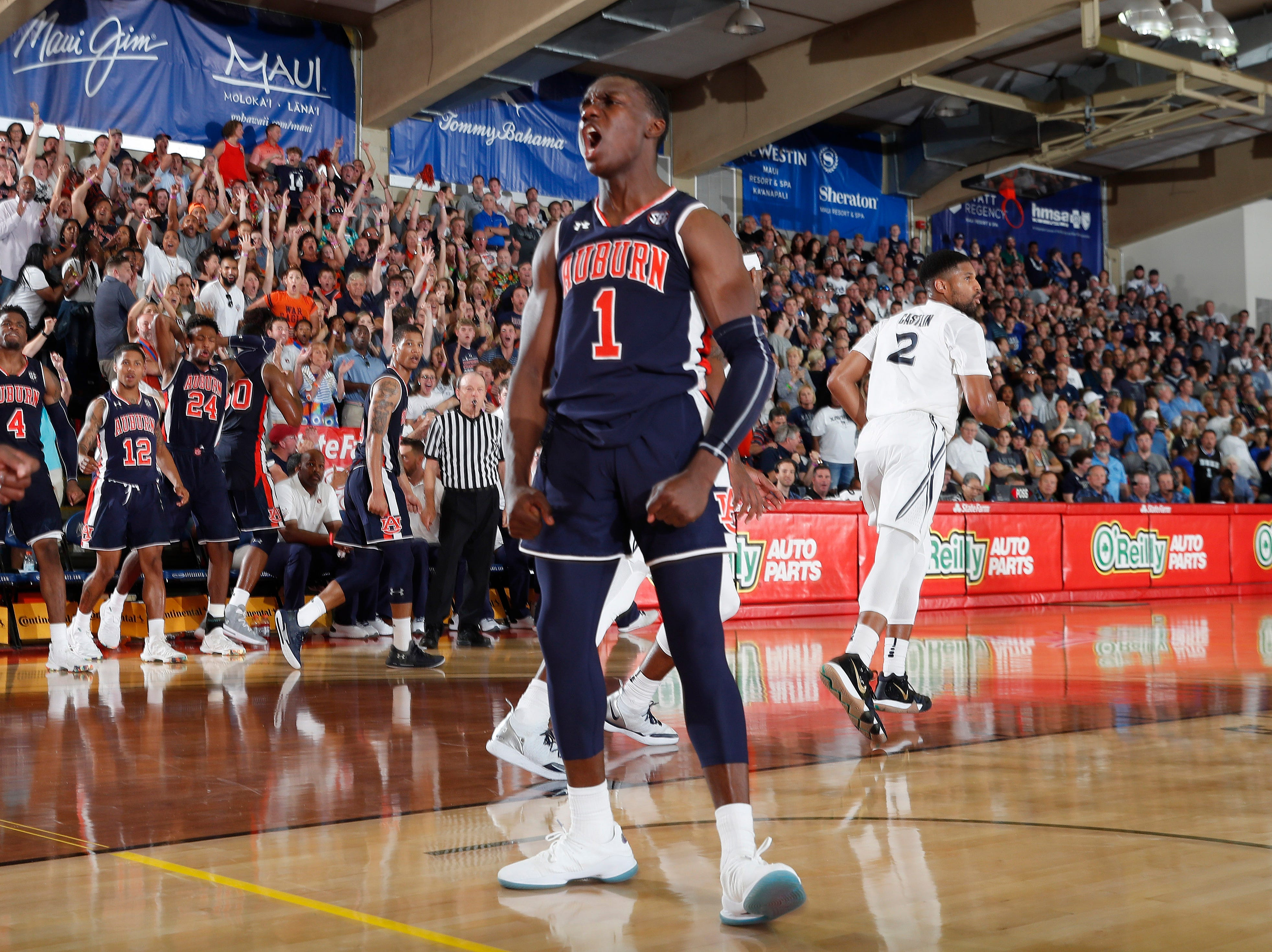 Nov 19, 2018; Lahaina, HI, USA; Auburn Tigers guard Jared Harper (1) reacts after dunking against the Xavier Musketeers in the second half during the first round games of the Maui Jim Maui Invitational at Lahaina Civic Center. Mandatory Credit: Brian Spurlock-USA TODAY Sports