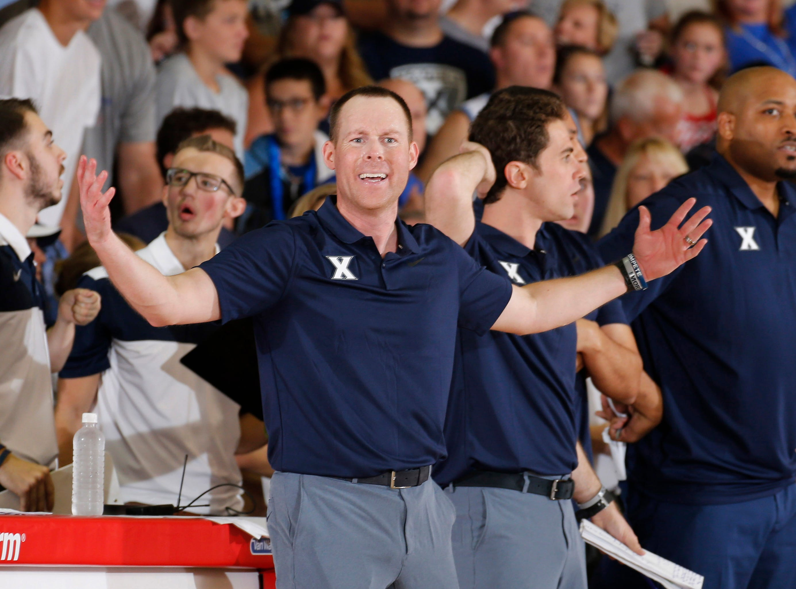 Nov 19, 2018; Lahaina, HI, USA; Xavier Musketeers coach Travis Steele coaching on the sidelines against the Auburn Tigers in the second half during the first round games of the Maui Jim Maui Invitational at Lahaina Civic Center. Mandatory Credit: Brian Spurlock-USA TODAY Sports