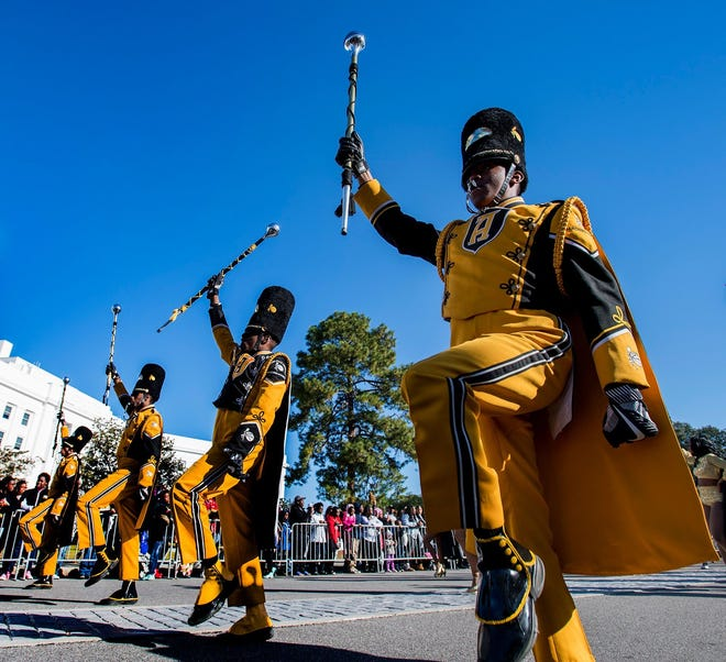 The Alabama State University Marching Hornets perform in the Turkey Day Classic Parade in downtown Montgomery, Ala. on Thursday November 23, 2017.